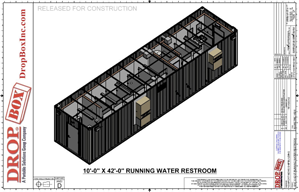 containerized restroom trailer, containerized restroom, modular running water restroom, DropBox Inc, DropBox Inc., custom shipping container modification, custom container modification, sanitation station, shipping container modifications