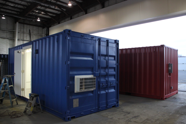 DropBox Inc., containerized office, blast resistant ISO shipping container modificatio, blast resistant office, blast resistant break room, modular blast resistant break room, modular blast resistant office