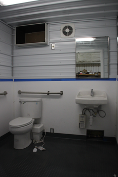 sanitation station,portable restroom trailer,custom shipping container modification,modular running water restroom,DropBox Inc,containerized restroom trailer,shipping container modifications