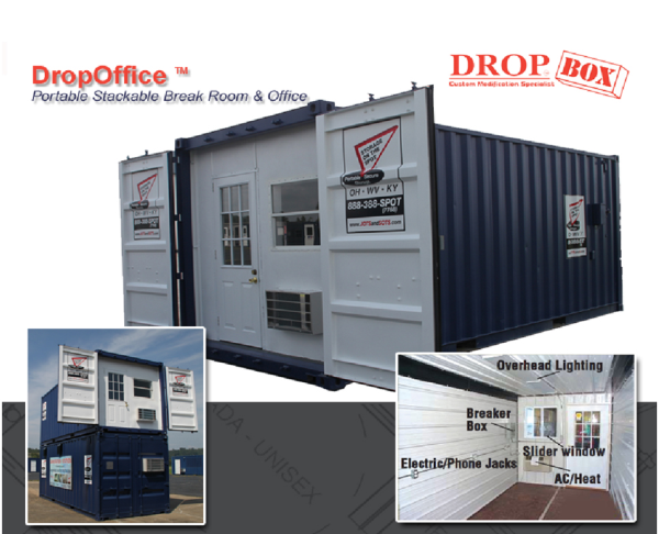 DropBox Inc, shipping container modifications, portable office, containerized office, office trailer, construction site office trailer, portable office