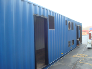 custom container modification, running water restroom, toilet shower combo unit