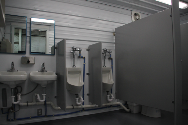 sanitation station, self contained restroom, portable restroom trailer, DropBox Inc., modular running water restroom, containerized restroom trailer