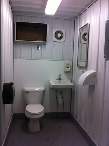 Shipping container mods blog modular running water restroom - Shipping container public bathroom ...