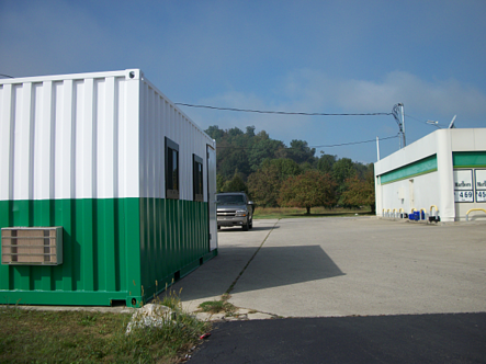 portable office, shipping container modification, custom shipping container modification, milvan modification