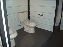 shipping container restroom modification, shipping container restroom, container modification