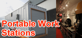 portable work station, modular work station, containerized work station, work trailer