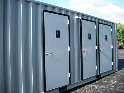 20' custom container modifications, shipping container modification, mil van modification