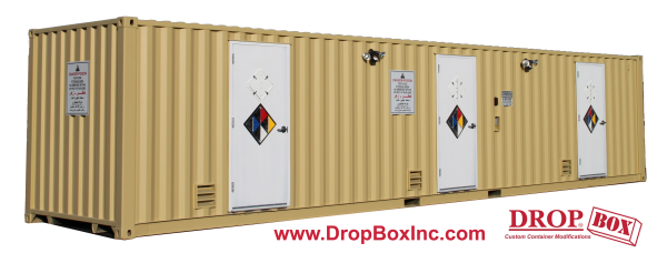 containerized chemical storage, DropBox Inc., custom ISO shipping container modification, custom shipping container modification, shipping container modification, portable chem storage, hazardous chem storage