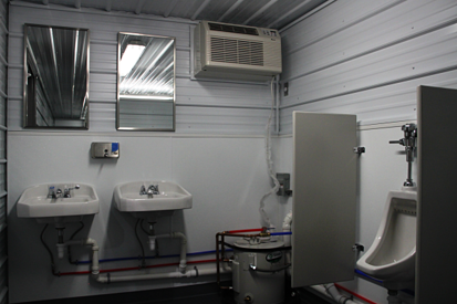 DropBox Inc, containerized restroom trailer, shipping container modifications, shipping container modification, portable restroom trailer, restroom trailer