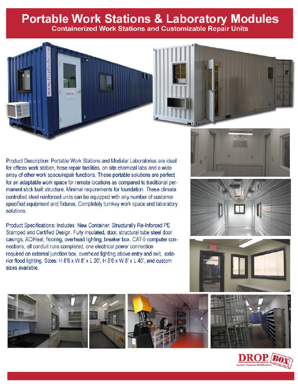 custom shipping container modification,milvan modification,DropBox Inc,mobile work station,portable laboratory,custom ISO shipping container modification