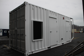 containerized energy storage, portable energy storage, shipping container modification, containerized grid stabilization, DropBox Inc, portable power system, containerized power system