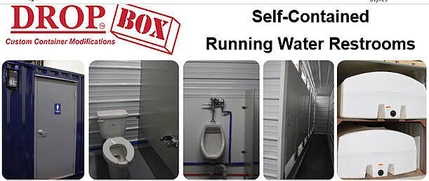 shipping container modification, DropBox Inc, shipping container modifications, sanitation station, ISO shipping container modification, portable restroom trailer, portable restrooms