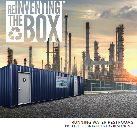 DropBox Inc, running water restroom, self contained restroom, containerized restroom, portable restroom trailer, restroom trailer, container restroom, modular restroom, portable restrooms