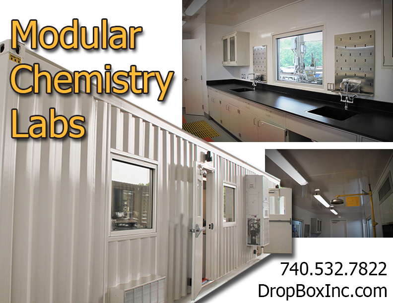 portable laboratory, portable chemical lab, containerized lab, modular laboratory, modular chemical lab, chemical lab in a shipping container, chemical lab in a container