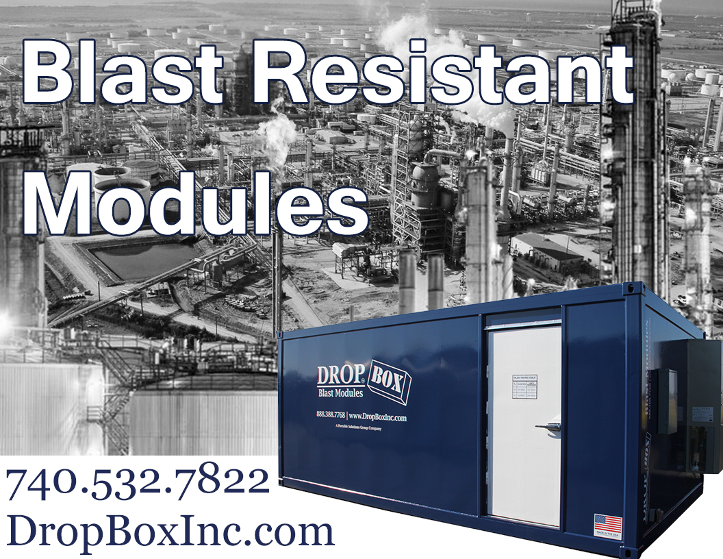 DropBox Inc, blast resistant office, blast resistant break room, BRM, custom blast resistant modules, blast resistence, portable blast resistant office, modular blast resistant break room, blast resistant module