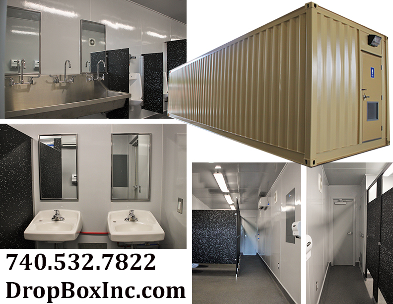 DropBox Inc, containerized restroom, modular running water restroom, shipping container restroom, shipping container restrooms, containerized restrooms