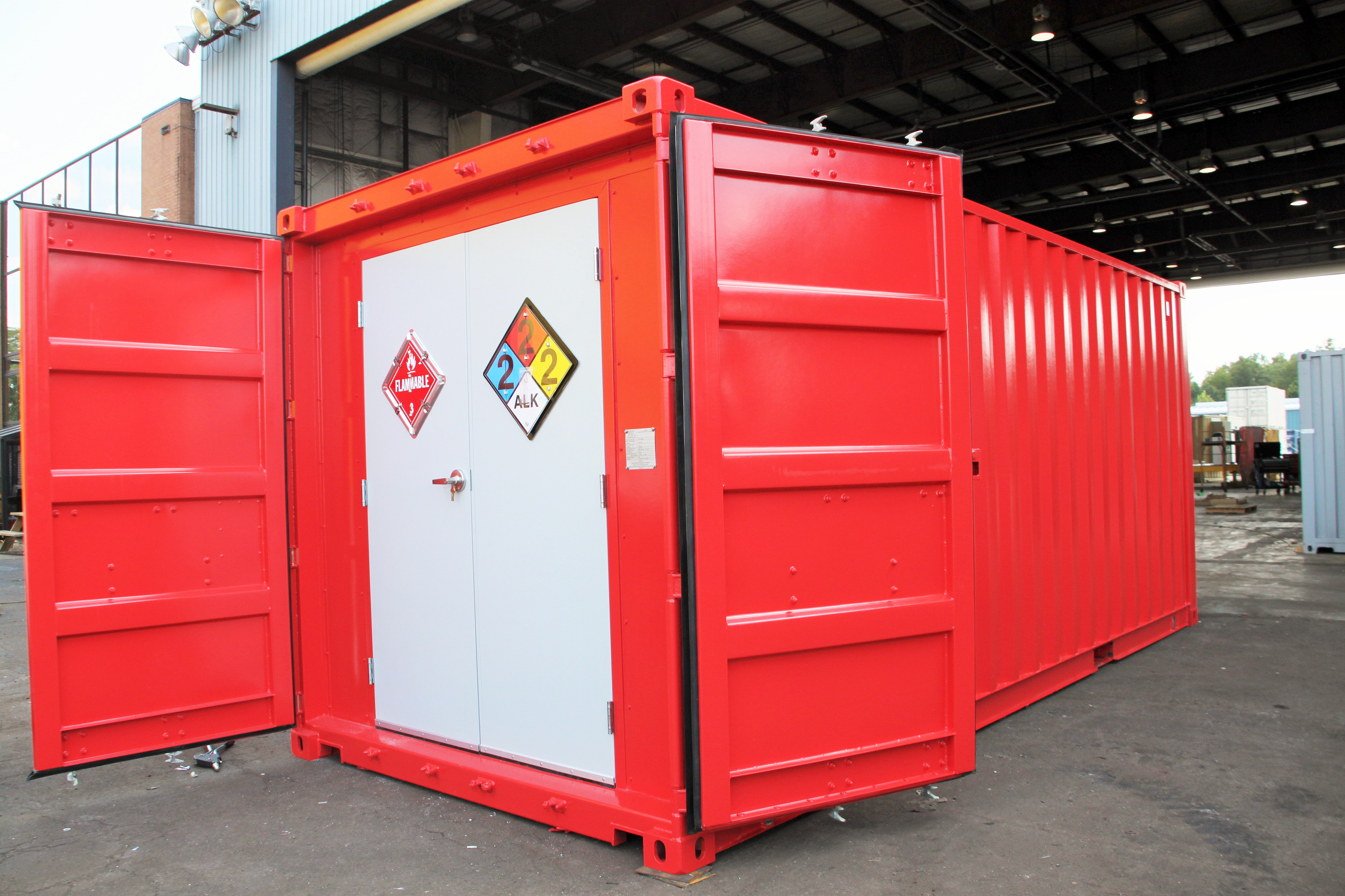 shipping container modification, DropBox Inc, shipping container modifications, custom shipping container modification, portable hazmat chemical storage, hazmat chemical storage