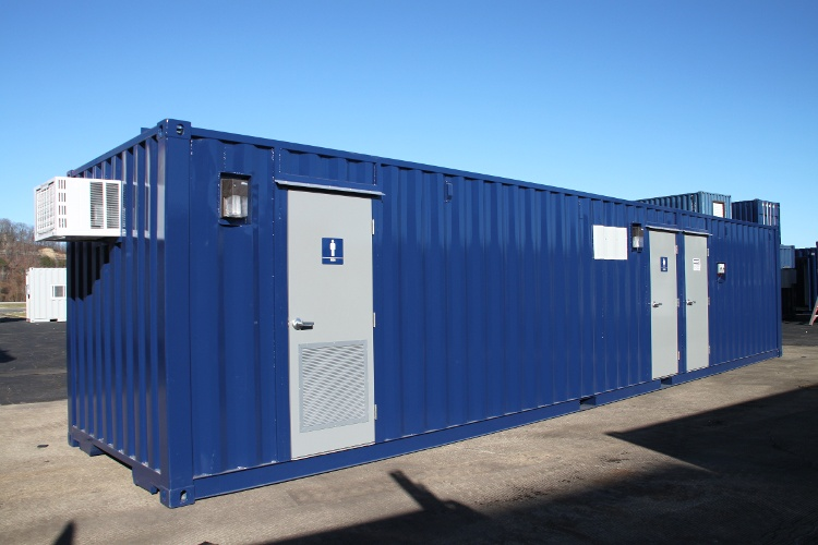 DropBox Inc, shipping container modifications, running water restroom, ISO shipping container modification, modular running water restroom, shipping container modification company, portable running water restroom
