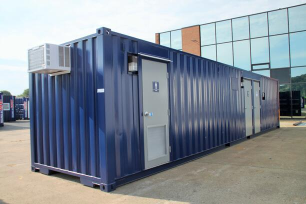 DropBox Inc, custom shipping container modification, running water restroom, self contained restroom, containerized restroom, containerized restroom trailer, portable restroom trailer, restroom trailer, modular running water restroom, container restroom, modular restroom, portable restrooms