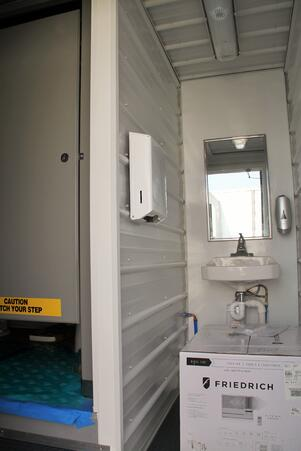 Shipping container mods blog modular running water restroom for Shipping container public bathroom