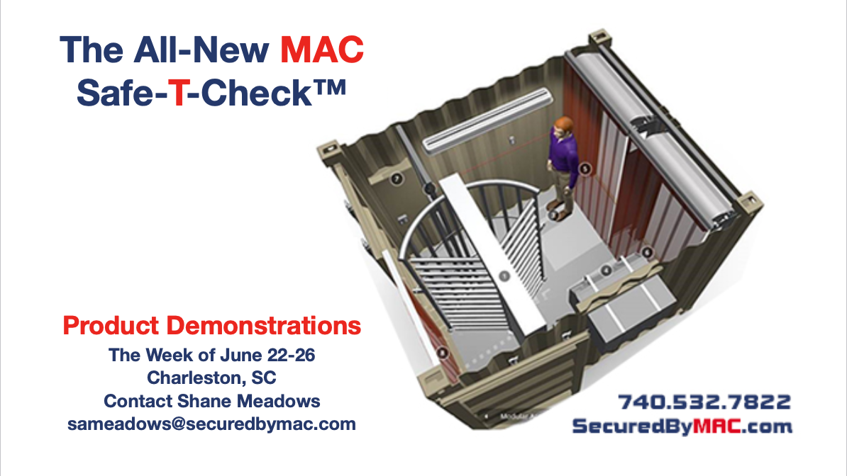 shipping container modification, ISO Shipping container, Shipping container, ISO shipping container modification, MSSI, Modular Security Systems, Inc., MAC Safe-T-Check, product demonstration, MAC Portal, modular access control, turnstiles, Charleston, SC