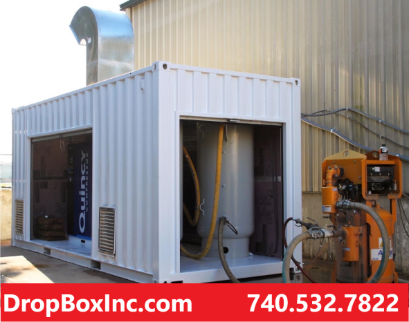 ISO shipping container modification, storage container modifications, ReinventingTheBox, container mods, compressor container, compressor