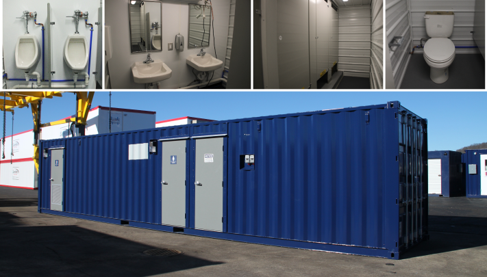 running water restroom, containerized restroom, modular running water restroom, portable restrooms, portable running water restroom, RWRs, running water restroom floor plan, RWR floor plan