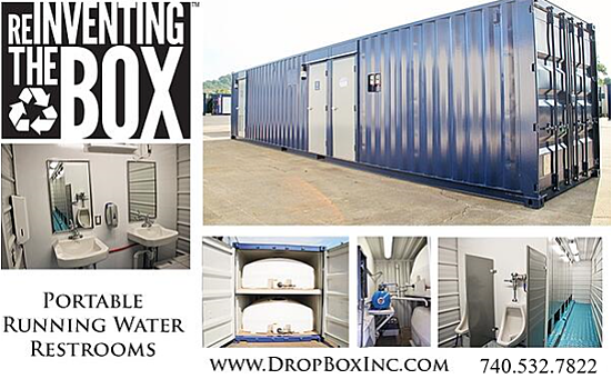 DropBox Inc, running water restroom, ISO shipping container modification, containerized restroom, modular running water restroom, container restroom, modular restroom, portable restrooms, ReinventingTheBox, portable running water restroom