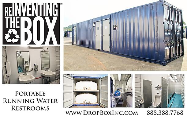 ISO Shipping container modifications, DropBox Inc, running water restroom, self contained restroom, ISO shipping container modification, containerized restroom, containerized restroom trailer, portable restroom trailer, restroom trailer, modular running water restroom, container restroom, modular restroom, portable restrooms