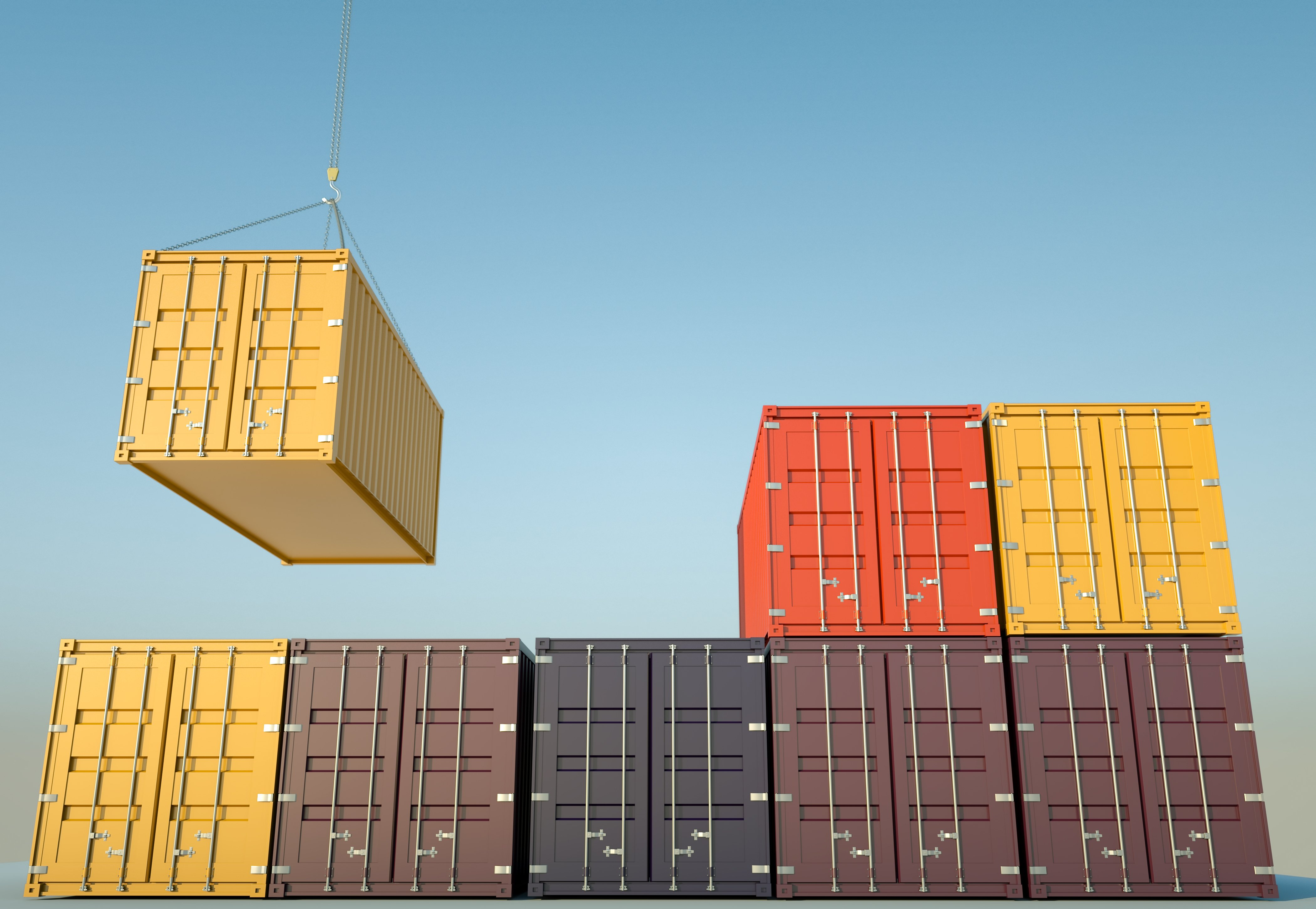 DropBox Inc, ISO Shipping container, Shipping container, shipping container sizes, shipping container weight, how to stack shipping containers, stacking shipping containers, corner castings, crane, straddle carrier, twist locks