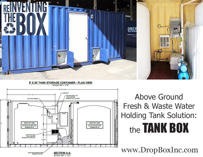 DropBox Inc, containerized sewer holding tanks, above ground sewage holding tank, temporary sewage holding tank, portable sewage holding tank, modular sewage holding tank, Tank Box