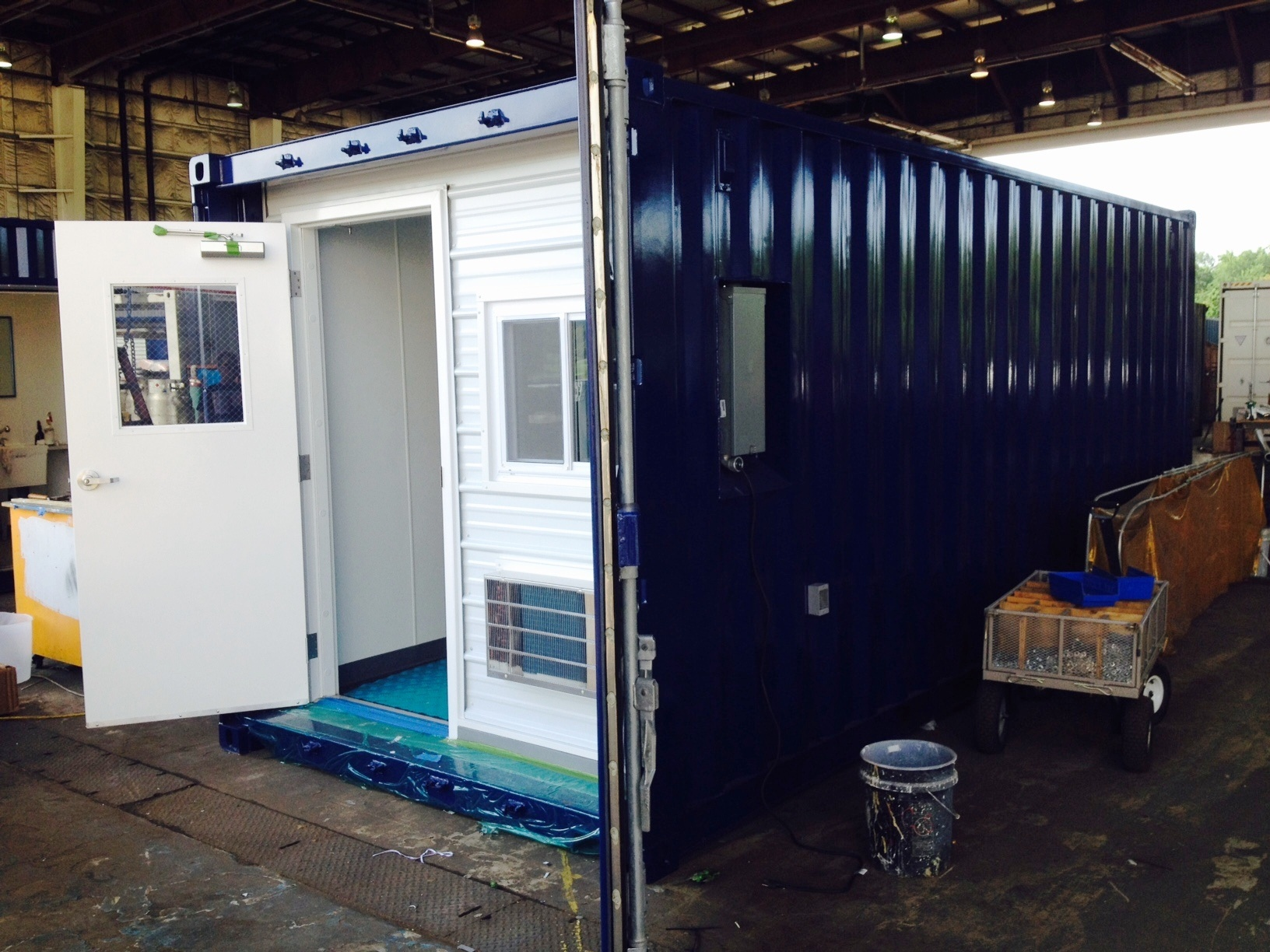 DropBox Inc., modular office, office trailer, portable office trailer, modular DropOffice, ground level office, shipping container modification