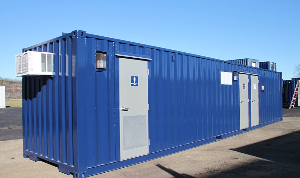 DropBox Inc, sanitation station, running water restroom, portable toilet, portable toilets, containerized restroom, restroom trailer, modular running water restroom, container restroom, modular restroom, portable restrooms